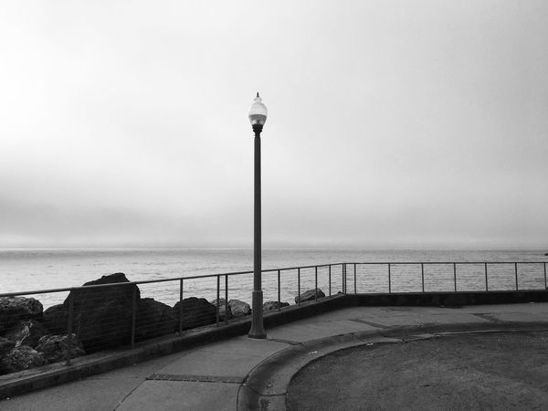 Pacifica Water Sea Railing Horizon Over Water Street Light Day Nature No People Outdoors Scenics California Pacific Ocean Pacifica Shootermag Fine Art Photography Bw_collection EyeEm Best Shots Blackandwhite The Week On EyeEm