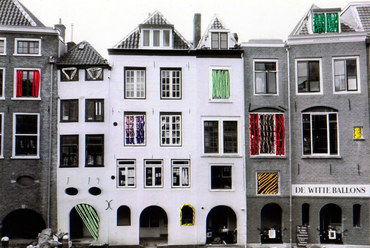 Architecture Black And White Building Exterior City Embroidered Photo Mixed Media Netherlands Sewing Utrecht Windows Cut And Paste