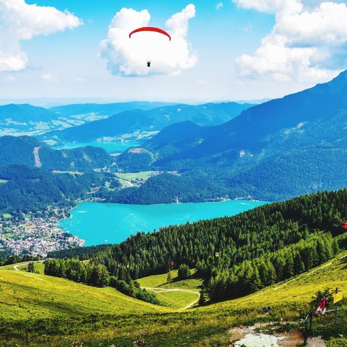 Paragliding Hot Air Balloon Parachute Extreme Sports Flying Mountain Tree Adventure Multi Colored Mid-air