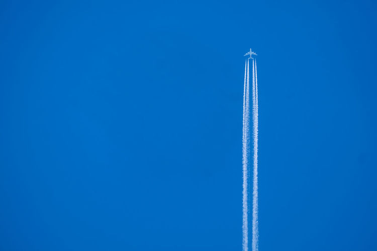 Air Vehicle Airplane Blue Clear Sky Day Flying No People Outdoors Sky Speed Vapor Trail Vapour Trail