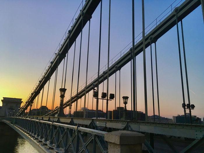 Budapest Bridge Bridge - Man Made Structure Chainbridge City Clear Sky Earlymoring Sky Sunrise Suspension Bridge Travel Destinations
