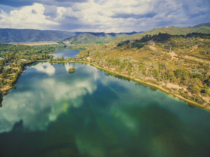 Aerial view of Lake Eildon in Melbourne, Australia Australia Australian Landscape Beautiful Drone  Panorama Panoramic Recreation  Aerial View Beauty In Nature Cloud - Sky Countryside Day Drone Photography Eildon Eildon Dam Lake Lake Eildon Landscape Mountain Nature No People Outdoors Recreational Pursuit Reflection Scenics Sky Tranquil Scene Tranquility Water Waterfront