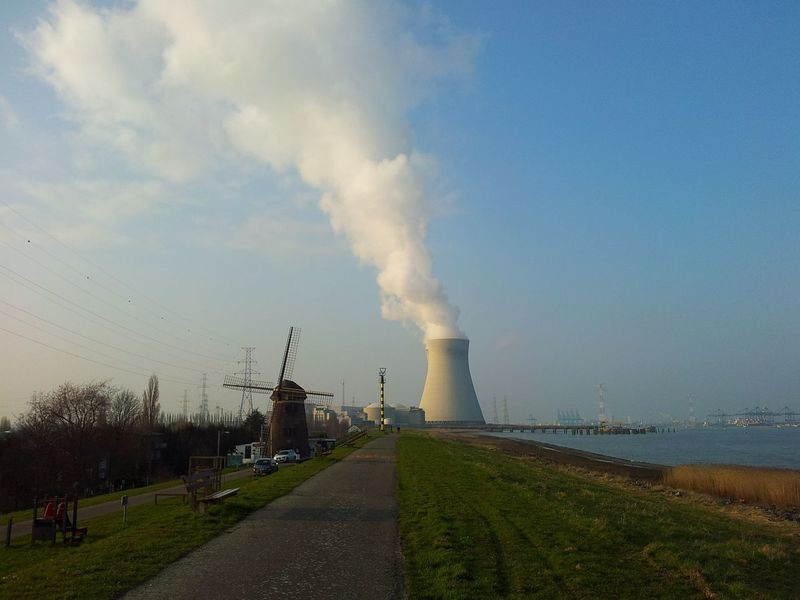 Smoke - Physical Structure Water Nuclear Power Plant Windmill Doel Belgium Cloudmachine