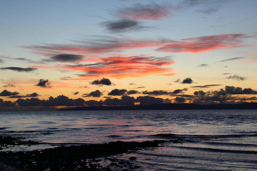 Sunset Over The Ayrshire Coast. Sunset Sea Beach Outdoors Dramatic Sky Scenics Landscape Beauty In Nature Sky Water Clouds Coastal Dramatic Sky Scotland 💕 Cloudscape Coastline Scotland