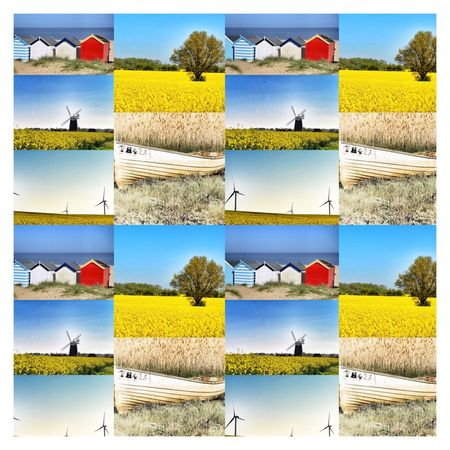 Summertime Summertime English Beach Beach Huts Multi Colored Choice Digital Composite Multiple Image Variation No People Transfer Print Composite Image Auto Post Production Filter Nature Yellow In A Row Day Collection Blue Sky Pattern Arrangement Outdoors Comparison
