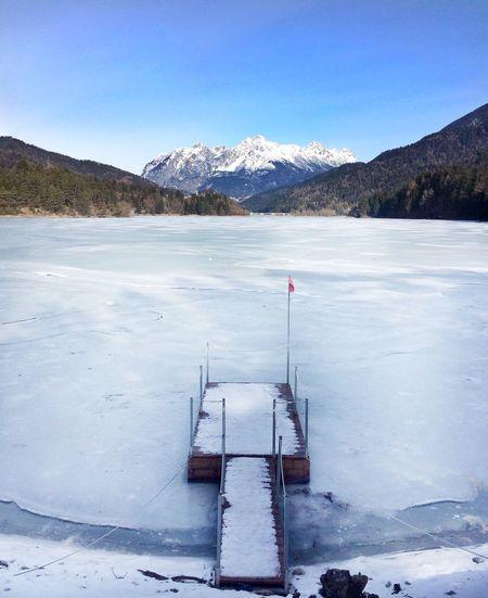 Landscape Mountains Frozen Lake Lago Di Lagore