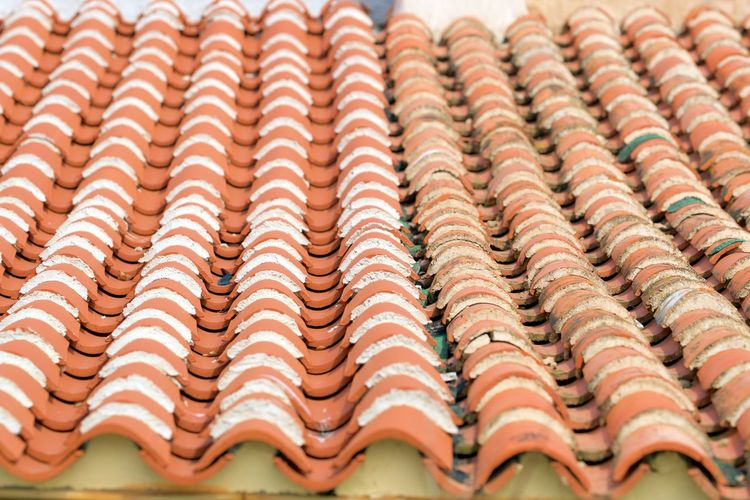 Roof Backgrounds Close-up Full Frame High Angle View In A Row No People Outdoors Pattern Repetition Roof Tile