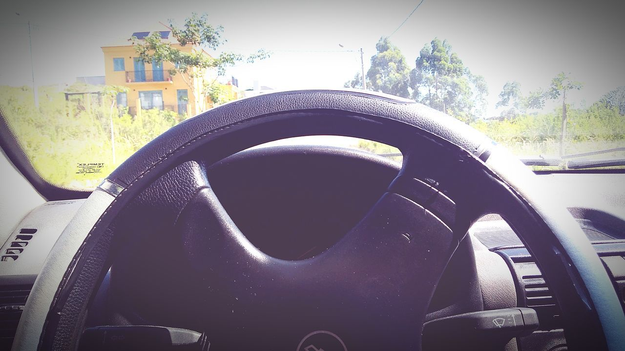 car, vehicle interior, transportation, land vehicle, car interior, steering wheel, mode of transport, dashboard, no people, vehicle seat, close-up, day, tree, vehicle part, outdoors