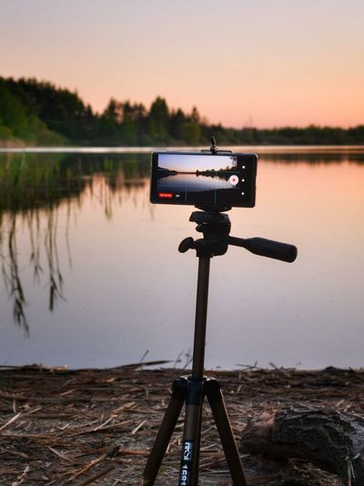 Mobile photography Mobille Mobilephone Smartphone Capture MOVIE Video Timelapse Water Photography Themes Clear Sky Sunset Technology Lake Camera - Photographic Equipment Reflection Sky Landscape Tripod Camera Film Studio Digital Camera Photographing Photographer Photographic Equipment Floating On Water Reflection Lake