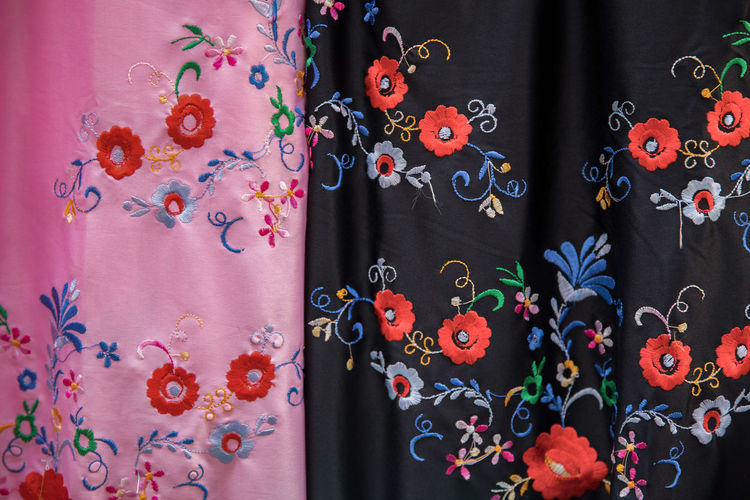 Backgrounds Choice Close-up Clothing Curtain Day Design Fashion Floral Pattern For Sale Full Frame Hanging Indoors  Multi Colored No People Pattern Retail  Retail Display Textile Variation