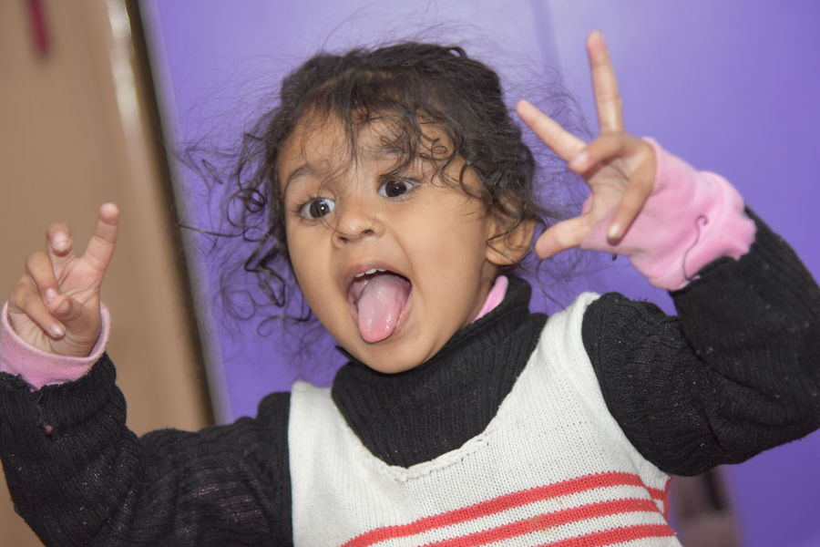 Potrait_photography Kids Happiness Baby Girl Tounge Out  Girl Smiling
