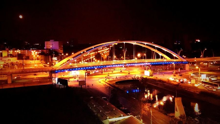 Connection Bridge - Man Made Structure Architecture Built Structure Transportation Night Illuminated River Water Engineering Arch Bridge Waterfront City Arch Bridge City Life Sky Outdoors Railway Bridge Railroad Bridge Bucharest