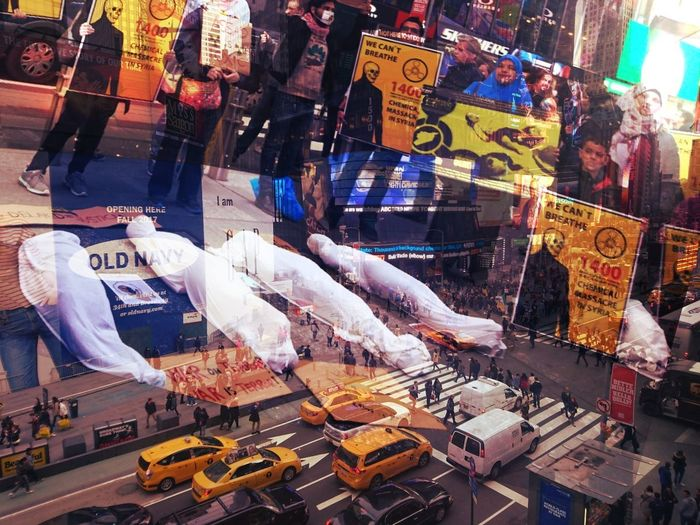 Protesters stage a demonstration against chemical attack in Syria's Aleppo at Time Square, New York City - April 5, 2017 Chemical Attack Syria  Protest Time Square New York City Double Exposure Photooftheday Mobile Photography Time Square, New York Street Photography Colors Outdoors The Photojournalist - 2017 EyeEm Awards Stories From The City