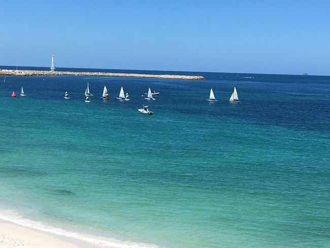 Yachts and sailing boats in the harbour of a Perth beach Sailing Club Sailing Boats Yachts Sea Water Horizon Over Water Clear Sky Blue Scenics Beauty In Nature No People Nautical Vessel
