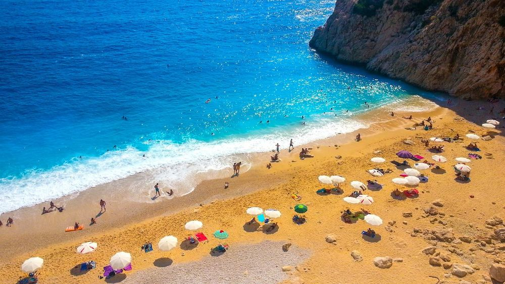 Kaputaş Beach in Turkey Beach Summer Sea Vacation Holiday People Beachumbrellas Sun Happiness Eye4photography