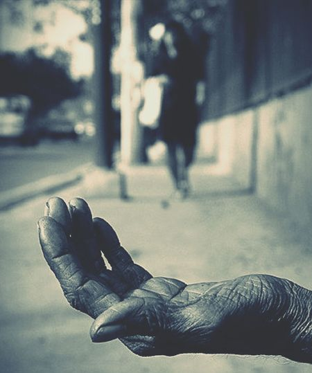Poverty Human Body Part Focus On Foreground Adults Only Adult City People Human Hand Close-up Day Outdoors Real People Men Only Men Social Issues