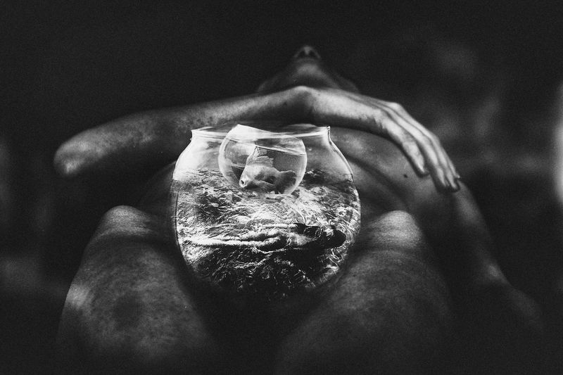 study ichthyology, the first signs of life Artistic Artistic Photo Artistic Vision Black And White Bowl Close Up Close-up Creative Fantasy Fantasy Photography Fine Art Photography Fish Fish Bowl Human Hand Métaphore