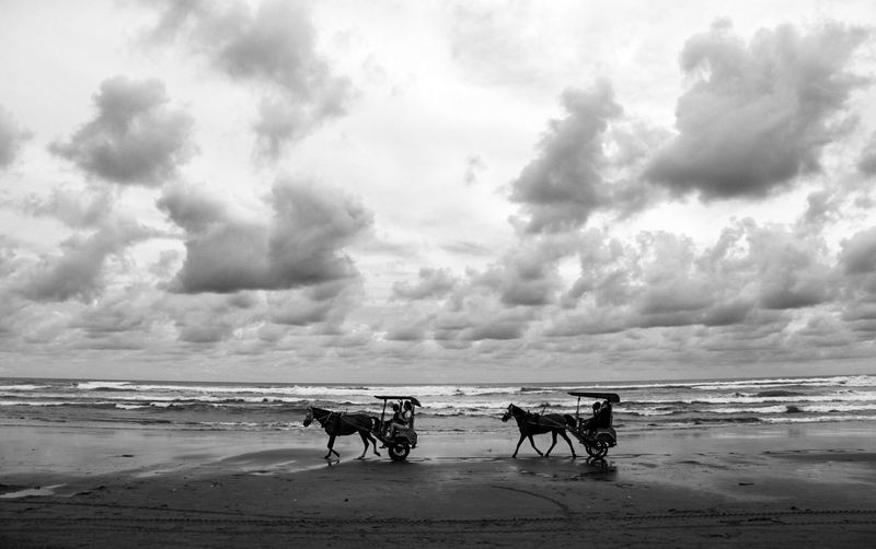 People riding horse on beach against sky