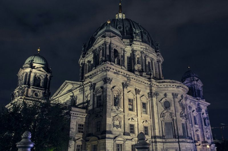 Low angle view of berlin cathedral at night against sky