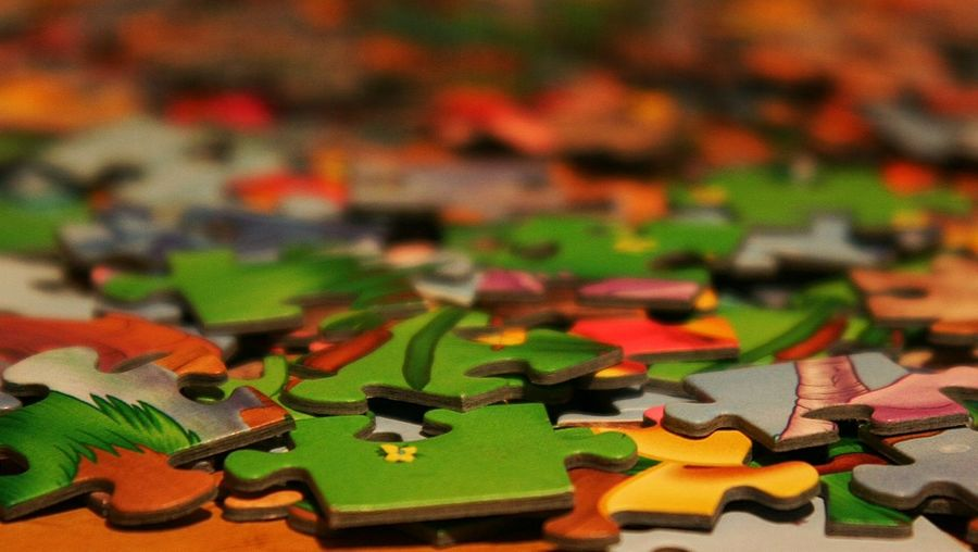 Close-Up Of Colorful Puzzles
