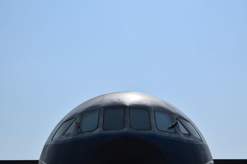 Old plane Sky Clear Sky Copy Space Nature No People Day Close-up Built Structure Sunlight Metal Blue White Color