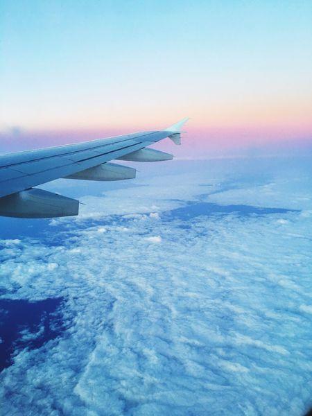Airplane Flying Blue Sky Sunrise Traveling Window Seat Privileges First Eyeem Photo