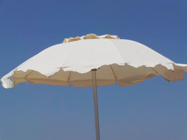 Shade Blue Clear Sky Close-up Day Low Angle View Nature No People Outdoors Protection Shelter Sky Summer Sunshade Umbrella White Umbrella