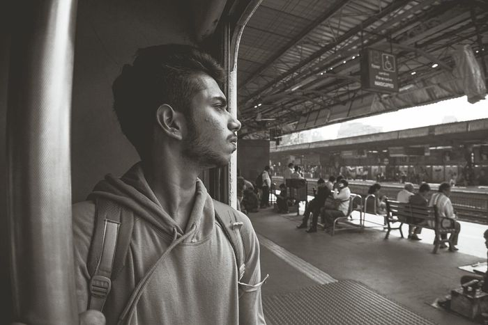 Be. Ready. EyeEm Selects Adult Men Lifestyles City Outdoors Time to go out n explore Indiantrains Railwaystation