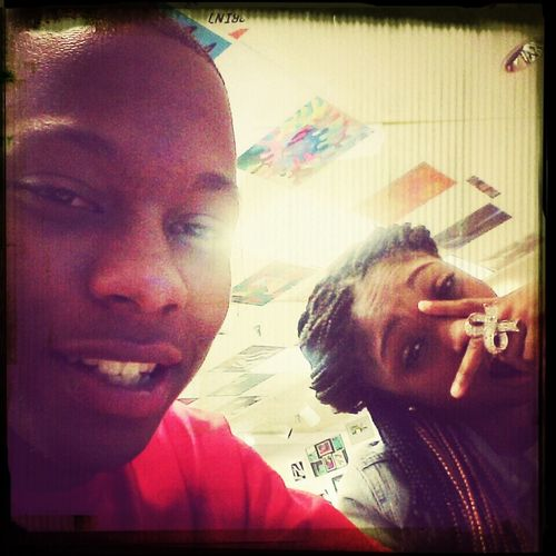 me and @goldenxchange in art class last week