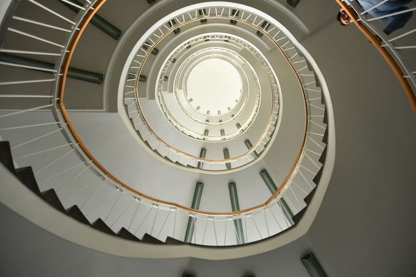 Architecture Architekturfotografie BCS Innenansicht München Schwindelig Spiral Staircase Stairs Treppenhaus Architecture Built Structure Day Indoor Architecture Indoors  Low Angle View No People Railing Spiral Spirals Staircase Staircase Perspective Steps Steps And Staircases Treppe Wendeltreppe