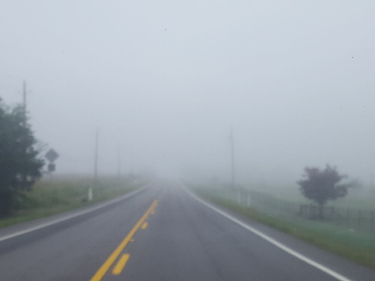 the way forward, road, road marking, diminishing perspective, fog, transportation, weather, white line, day, foggy, nature, tree, no people, outdoors, asphalt, landscape, tranquility, scenics, sky, beauty in nature