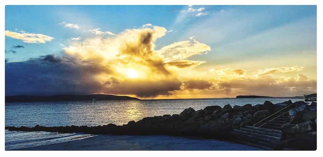 Landscapes With WhiteWall Salthill Prom Galwaybay Galway, Sunset Galway Light Galway,ireland Galway Sunset Sunset #sun #clouds #skylovers #sky #nature #beautifulinnature #naturalbeauty #photography #landscape The KIOMI Collection IPhoneography The Great Outdoors - 2017 EyeEm Awards Tranquil Scene Eyeemphoto