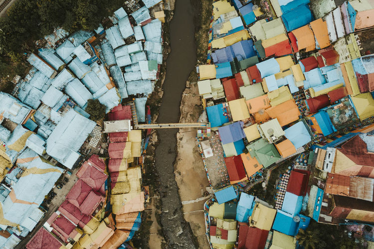 High angle view of multi colored building roof