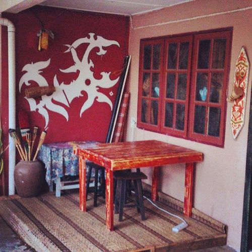 one side of our Cafe Tempuankitai corners. you can see most decorations are from the Dayak Iban cultural motives arts design