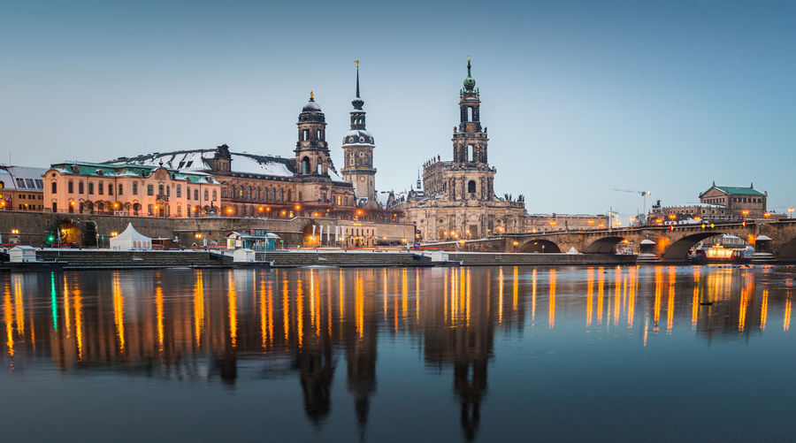 Dresden old town city and elbe river, dresden, germany