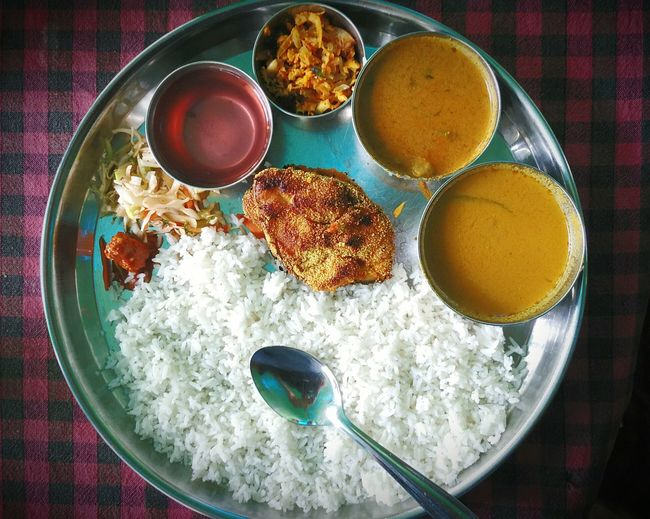 Directly Above View Of Fresh Meal Served In Plate
