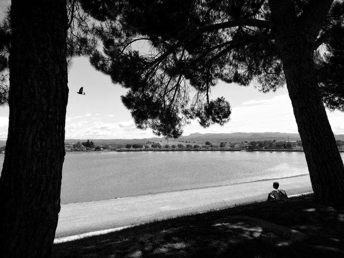 Silhouette Nature Water Outdoors Lake One Man Only Day Tranquility Black And White EyeEm Gallery Landscape Eyemphotography Feedbacks Are Always Welcome :)