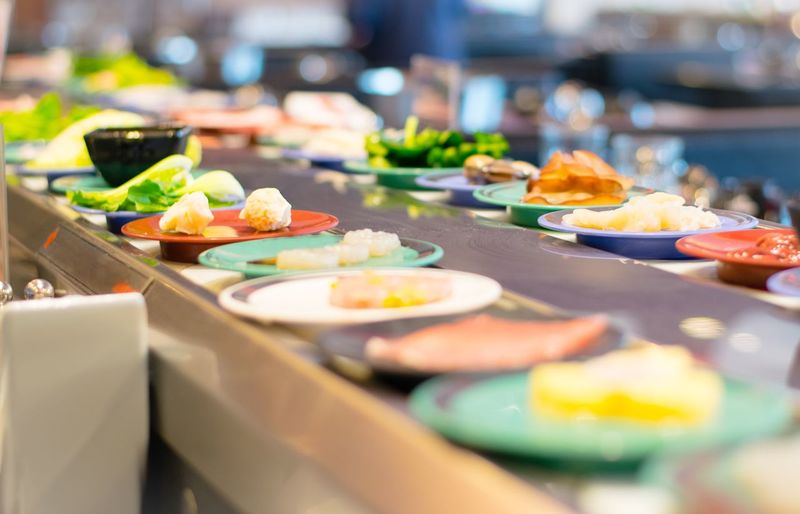 Buffet sushi Japanese food in restaurant. City Buffet Plate Food Staple Meat Vegetable Appetizer Food And Drink Sashimi  Sushi Japanese Food Japanese Culture