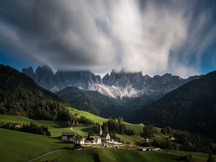 Santa Maddalena Mountain Sky Cloud - Sky Beauty In Nature Scenics - Nature Mountain Range Nature Environment Landscape No People Day Idyllic Outdoors Long Exposure Clouds Weather Village Church Architecture Buildings