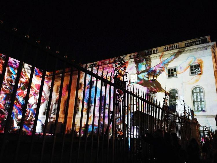 Festival Lights University Fence Nightphotography Illuminated Mobilephotography Shadows & Lights Artificial Light Bird Projection Façade Streetphotography City Multi Colored Window Architecture Sky Built Structure Street Art