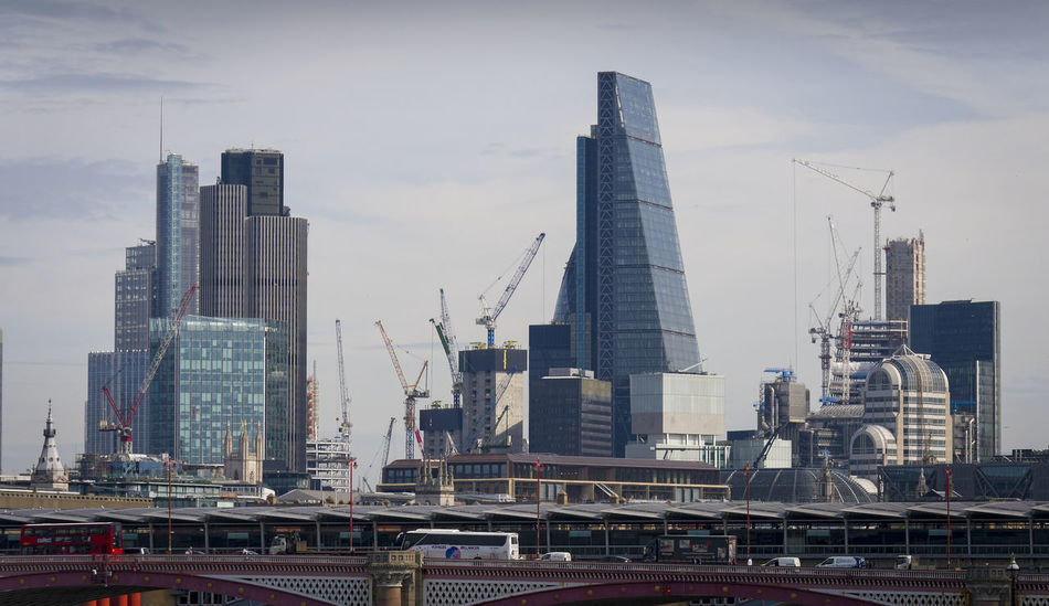 City of London Skyline with the River Thames in the foreground. Architecture City Cityscape Financial District  London Modern Offices Panaroma River Thames Skyline Tower 42 Block Buildings Cheese Grater Financial Landmark Skyscraper Square Mile Tower Urban