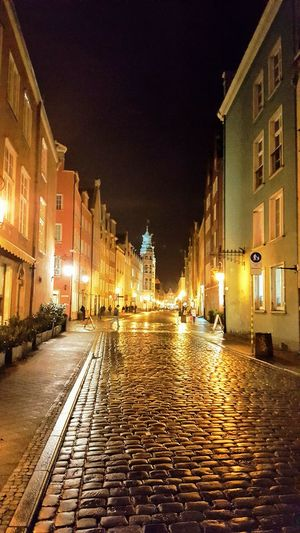 Night Building Exterior Illuminated Architecture Built Structure Outdoors City No People Sky Gdansk Gdansk,poland Reflection