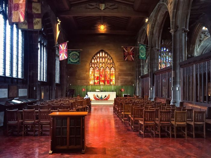 The Red Window Manchester Cathedral Religion Place Of Worship Indoors  Spirituality No People Pew Altar Architecture Day