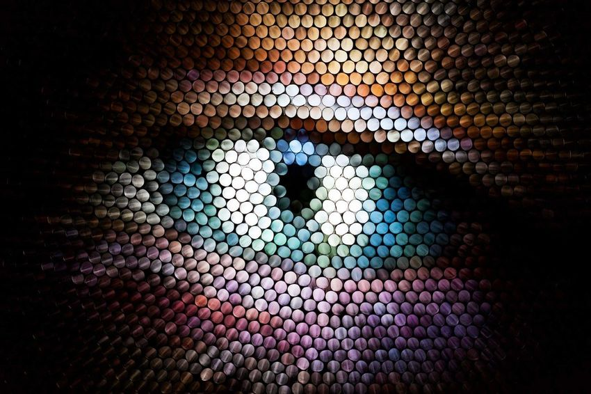 Backgrounds No People Pattern Full Frame Multi Colored Illuminated Close-up Textured  Abstract Straws Strawcamera Eye Pixelated