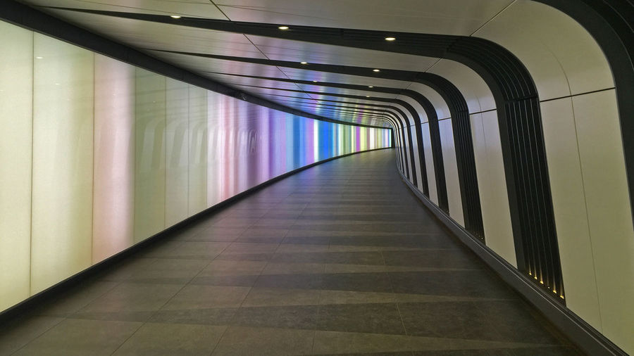 Empty Colorful Tunnel At Kings Cross Station