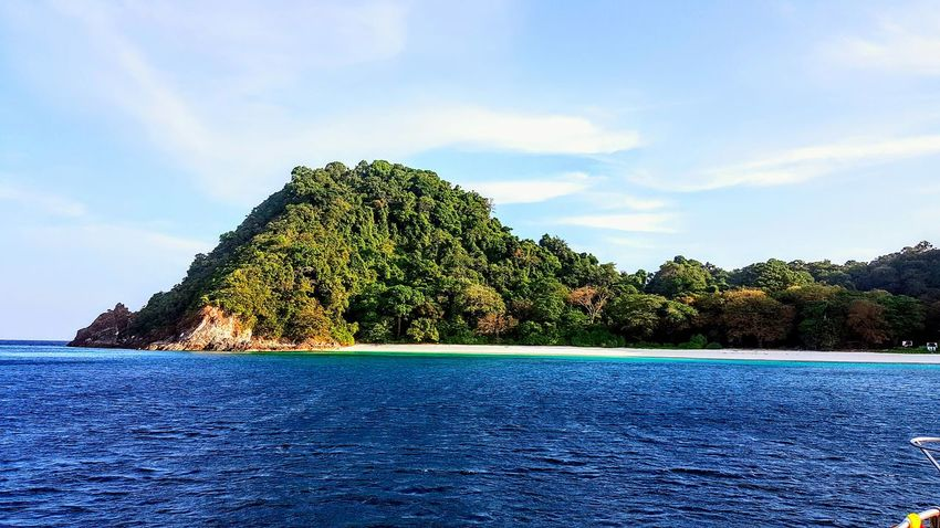 This island was a little piece of deserted heaven Blue No People Nature Beauty In Nature Outdoors Travel Today's Hot Look Travel Photography Mergui Archipelago Mergui Peaceful Beach Burma Myanmar Tranquil Scene Tranquility Serene Outdoors Travelling Cloud - Sky Water Catamaran View Boat View Miles Away