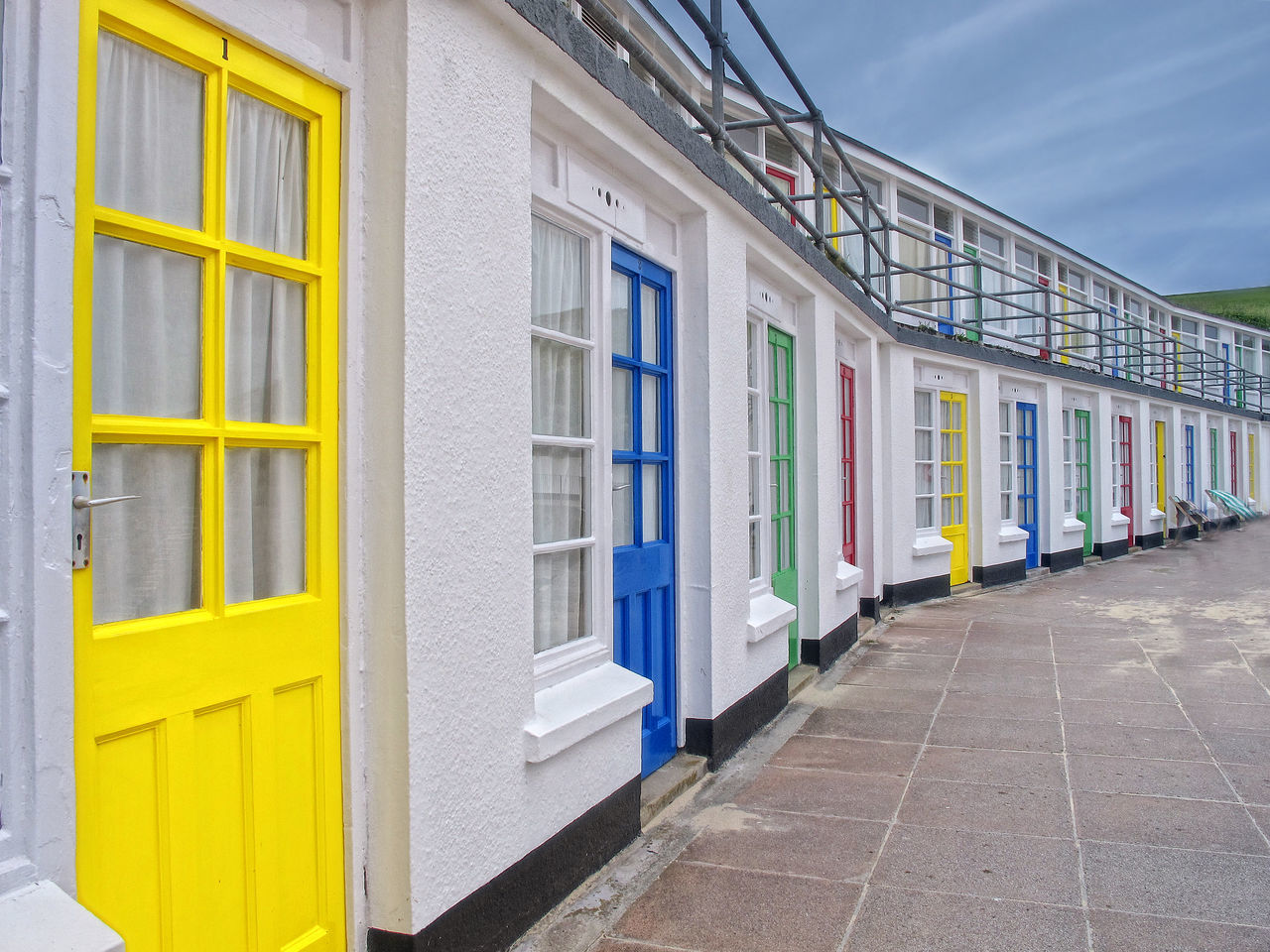 Colorful Beach Huts In Row