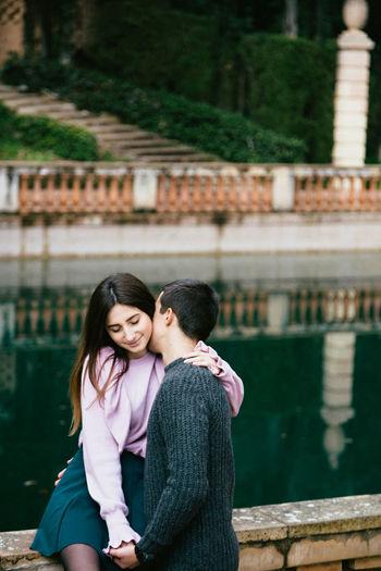 Romantic couple against lake