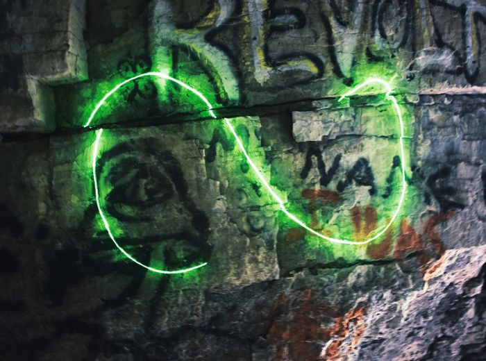 Laser + long exposure Green Color Electricity  No People Technology Day Outdoors Close-up Laser Long Exposure Nightphotography Cave Grafitti Stone EyeEmNewHere First Eyeem Photo