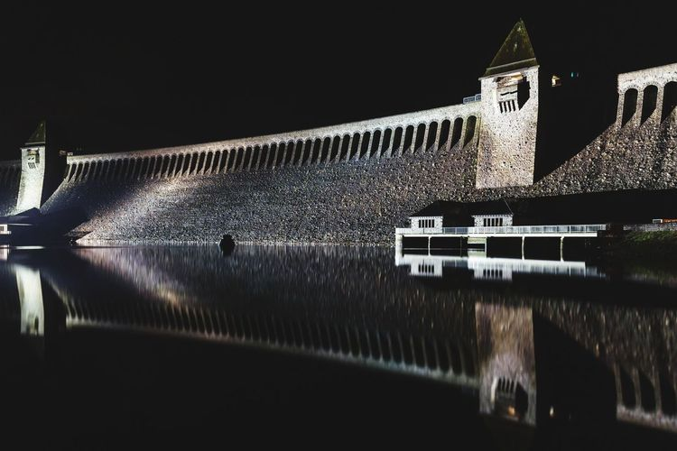 Möhnesee Dam at Night #1 Moehnesee Möhnesee Germany NRW Dam Germany Architecture Night Water No People Travel Destinations Built Structure Outdoors Building Exterior